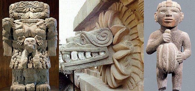 Escultura azteca. Coatlicue (diosa tierra), Quetzalcóatl (dios principal) y un hombre sosteniendo un fruto del árbol del cacao, respectivamente, son muestra de la escultura del pueblo mexica.