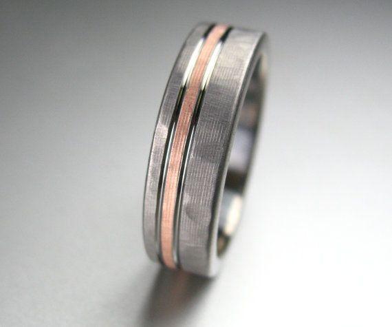 Men's Wedding Band Titanium & Rose Gold Hammered by spexton, $429.00