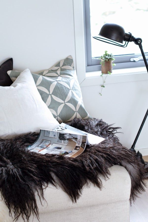 www.thewhitebox.no  Scandinavian interior design. Jielde lamp. Sheepskin.