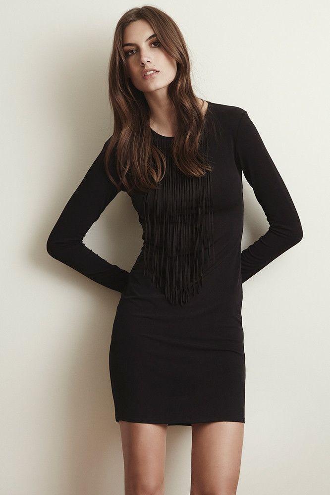 Velvet by Graham & Spencer petite fitting black jersey, fringed dress. #sale