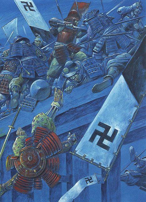 Siege of Osaka. Night attack across the bridge Honmachi, led by Ban Naotsugu (January 16, 1615)
