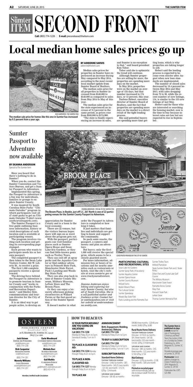 #ClippedOnIssuu from June 20, 2015  Article I wrote about the Sumter Passport / Track Your Adventure which is free booklet showcasing 22 places to visit in Sumter County, which each visit get the corresponding page stamped and when done you turn it into the visitor's center and win a prize!  I wrote the article, and am participating in it!