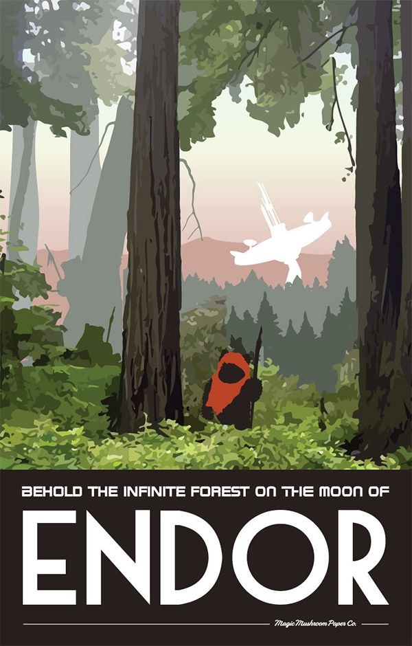 Endor Star Wars Travel Poster by MMPaperCo