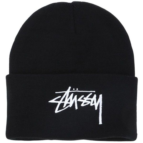 Stussy Men Embroidered Logo Beanie Hat ($32) ❤ liked on Polyvore featuring men's fashion, men's accessories, men's hats, black, mens beanie caps, mens beanie, mens beanie hats and mens hats