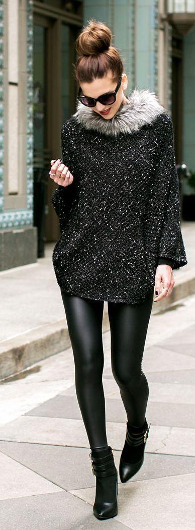 Sequin Faux Fur Collar Poncho, Black