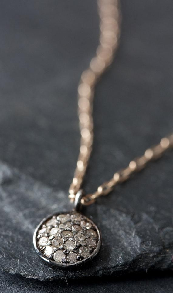 Pavé diamonds and oxidized sterling silver give Etsy seller LexLuxe's pendant its pretty-but-tough vibe. #etsyjewelry