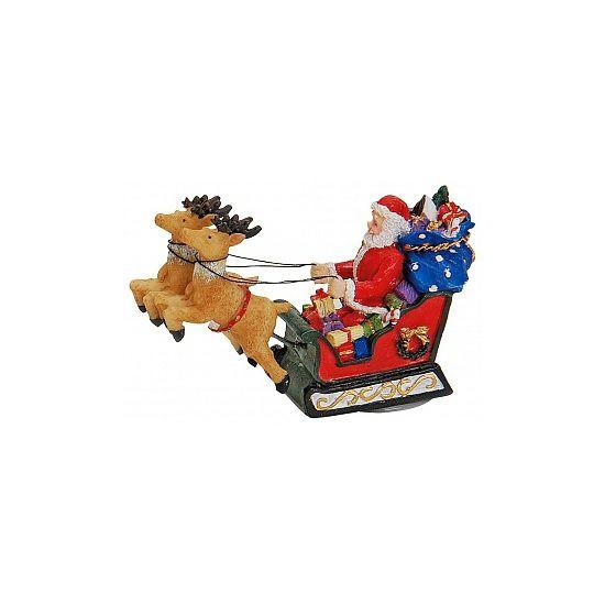 Kerstman decoratie beeldje 8 cm. Dit polystone decoratie beeldje van de Kerstman in een arreslee met rendieren heeft een formaat van ongeveer 8 cm.