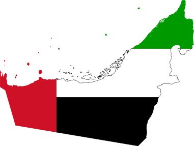 Flag map of the United Arab Emirates