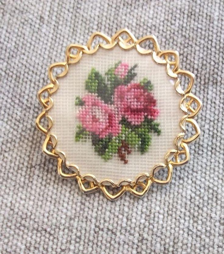 Vintage petit point золотая брошь, розовые розы | Украшения и часы, Винтажные и антикварные украшения, Бижутерия | eBay!