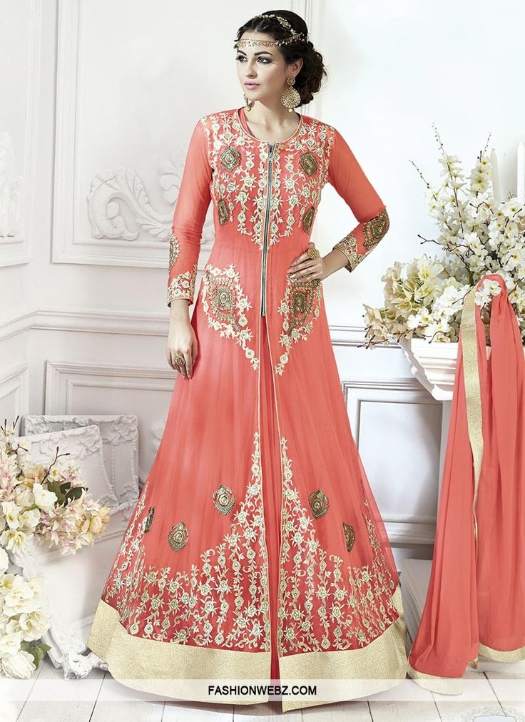 Make the heads turn whenever you costume up in this #salmon #net #trendy #designer #salwar #kameez.   #online, #style, #womensfashion, #indianwear, #gashion, #pattern
