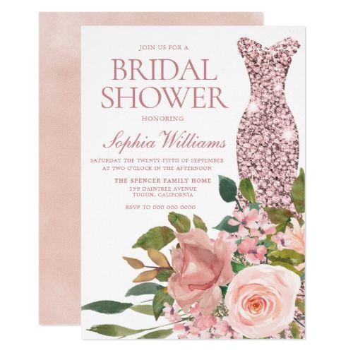 Rosen-Goldkleid u. Erröten rosa Blumen-Brautparty-Einladung   – I love Bridal Shower Invitations!