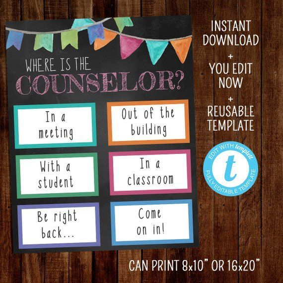 Editable Where Is The Counselor Template Office Door Sign Signs Notes