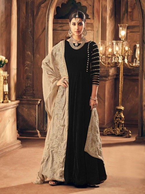 f63233bc18 Splendid black wedding anarkali suit online which is crafted from velvet  fabric with exclusive heavy embroidery work. This stunning designer  anarkali suit ...