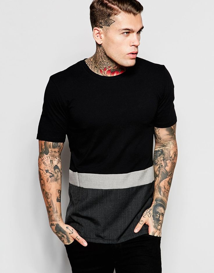 Imagen 1 de Camiseta larga con panel tejido en contraste de Religion
