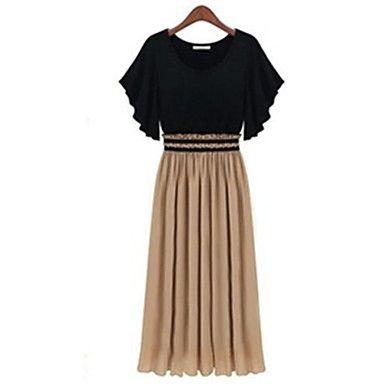 Women's Sexy Casual Cute Maxi Plus Sizes Micro Elastic Short Sleeve Dress (Chiffon/Knitwear) 2015 – $15.99
