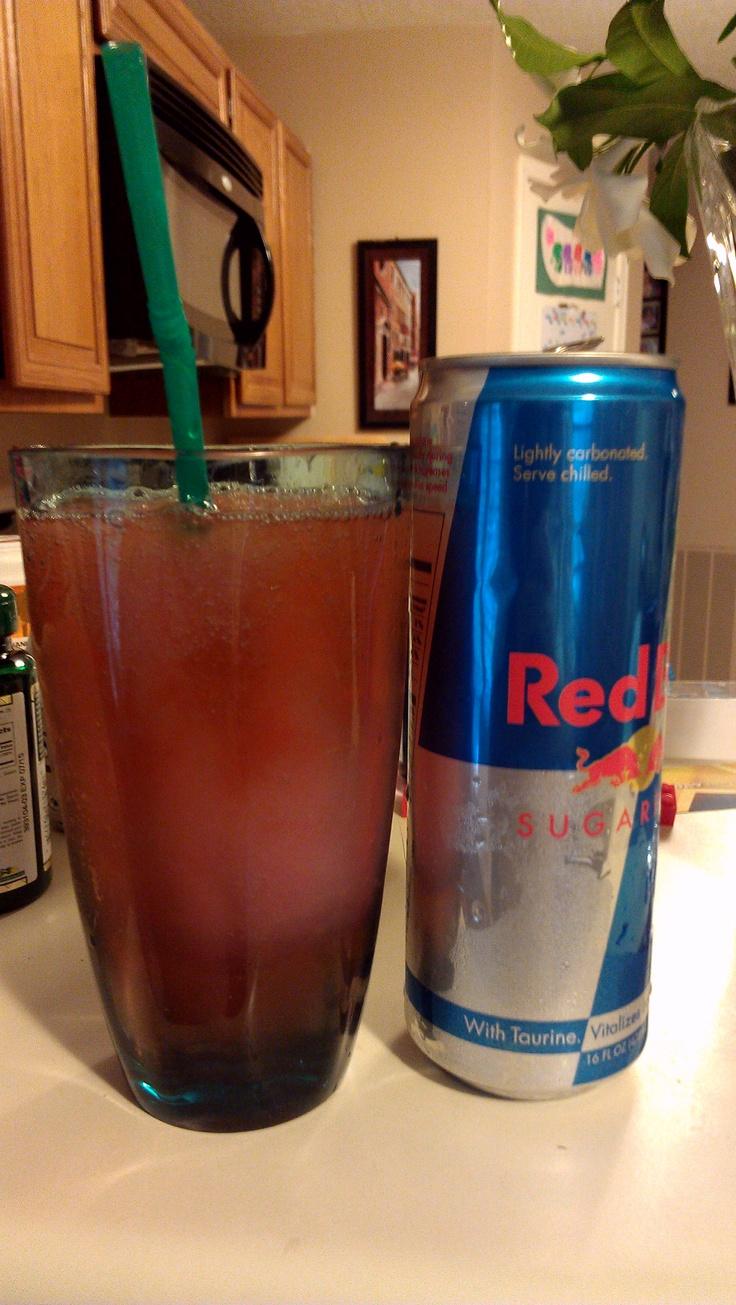 Oh mah God.....best drink ever!!!! Strawberry Mike's Hard Lemonade Margarita and Red Bull. 50/50. Holllllllly crap that's gooooooooood.