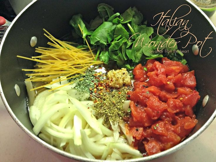 Italian Wonderpot - all ingredients go into one pot and meal is ready is less than 1/2 hour