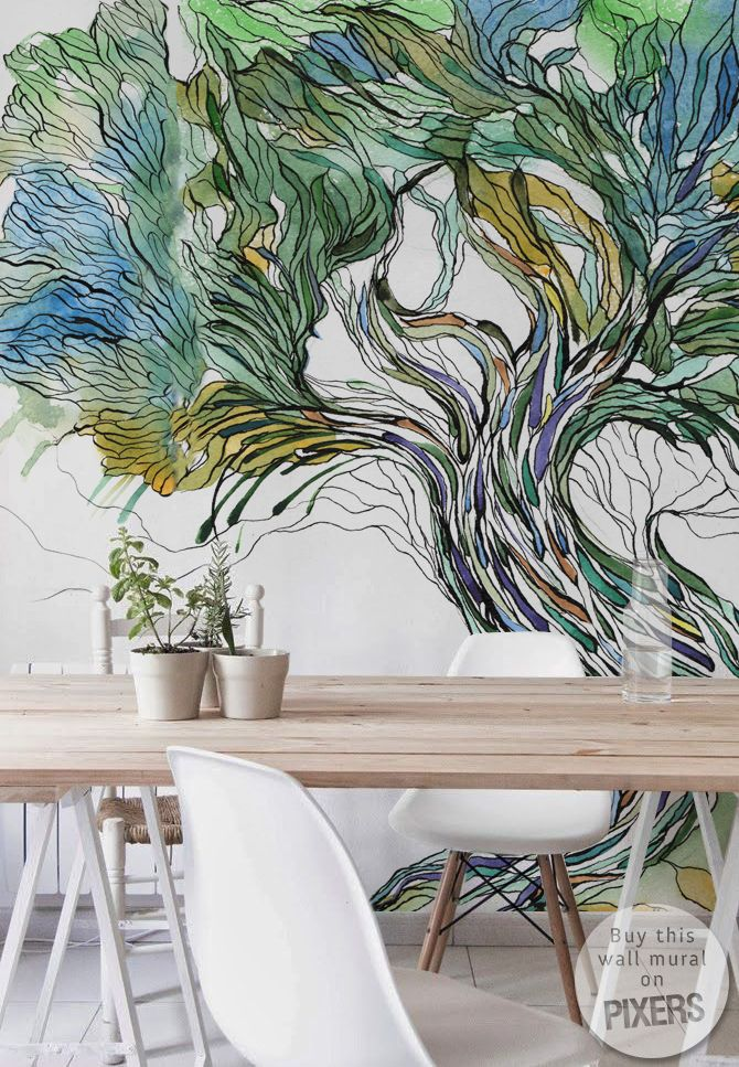 25 best ideas about tree wall murals on pinterest wall for Black and white tree wallpaper mural