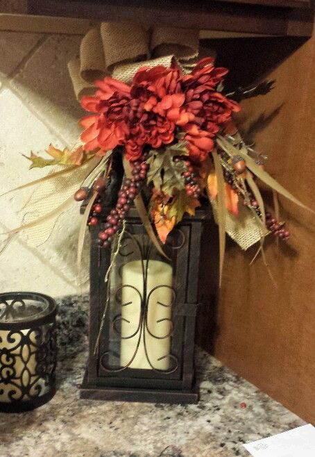 Decorated my lantern for fall supplies from hobby lobby