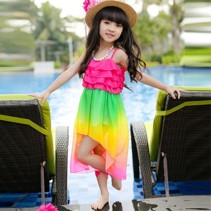 Rainbow Gradient Girls' Dress 2016 Summer Beach Sling Baby Girls dress 3-14 Years Kids Holiday Clothing Party Clothes For Girls