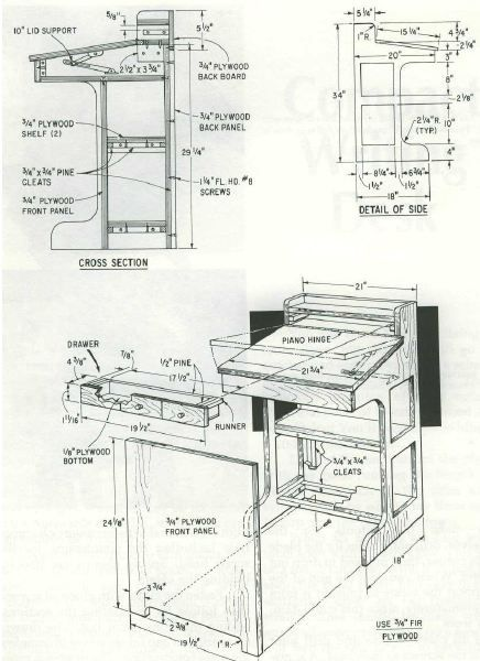Woodworking plan for writing desk. Complete woodworking plans with detail descriptions can be found on my website: www.tedswoodworkplans.com