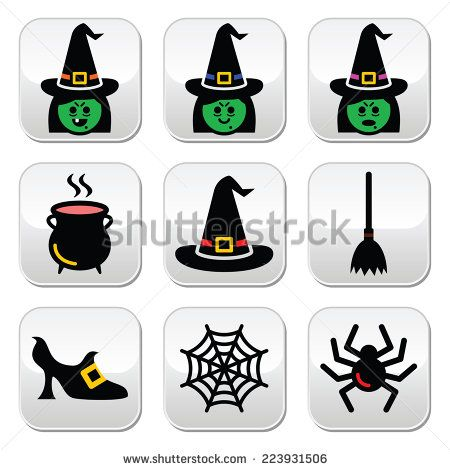 Witch Halloween vector buttons set -by RedKoala #spider