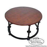 Baker Furniture Co. Round Iron Base Mahogany Coffee Table
