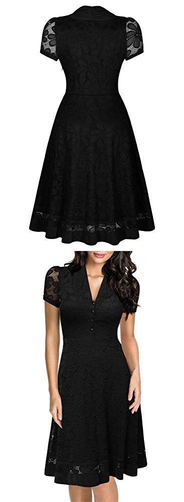 Miusol® Women's Retro Hepburn Style Half Sleeve Swing Bridesmaid Dress, Black, XL