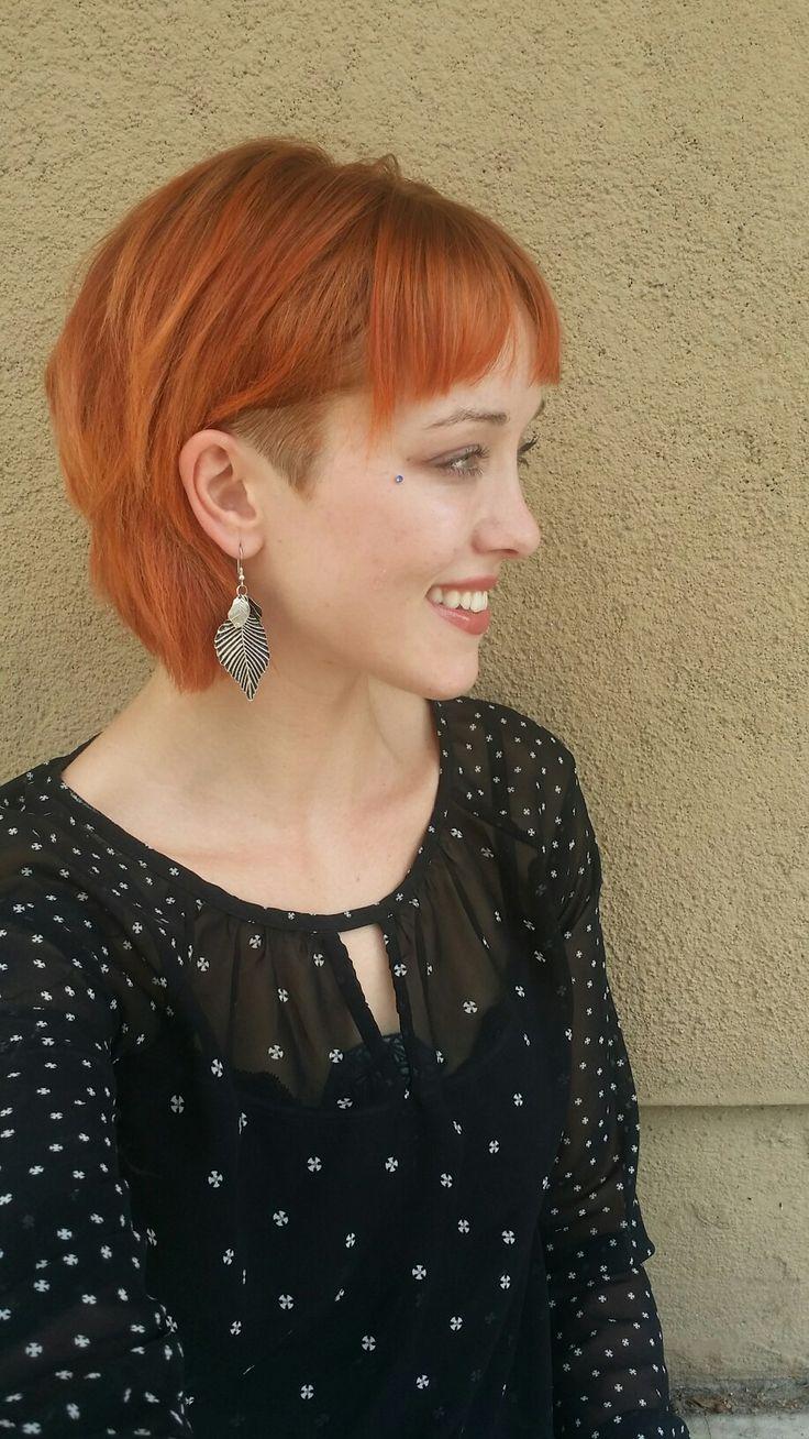Copper hair color and undercut #undercut #bob #copperhair #fallhair #davinescolor