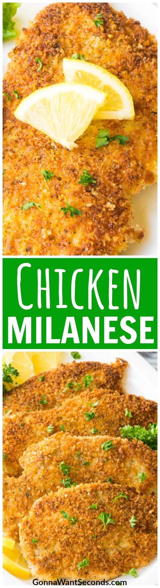 Our classic Chicken Milanese recipe makes an easy Italian dinner that your family will love. Serve with arugula salad and spaghetti and you'll have a new hit in your meal rotation! #Recipe #WithArugulaSalad #Italian #Pasta #Baked #Easy #Best #Chicken #Milanese #Panko #BreadCrumbs #Cooking #Dinner #WithLemon #Families #Meals #Dishes #WithCheese