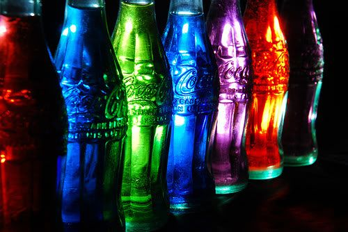 rainbow coke bottles