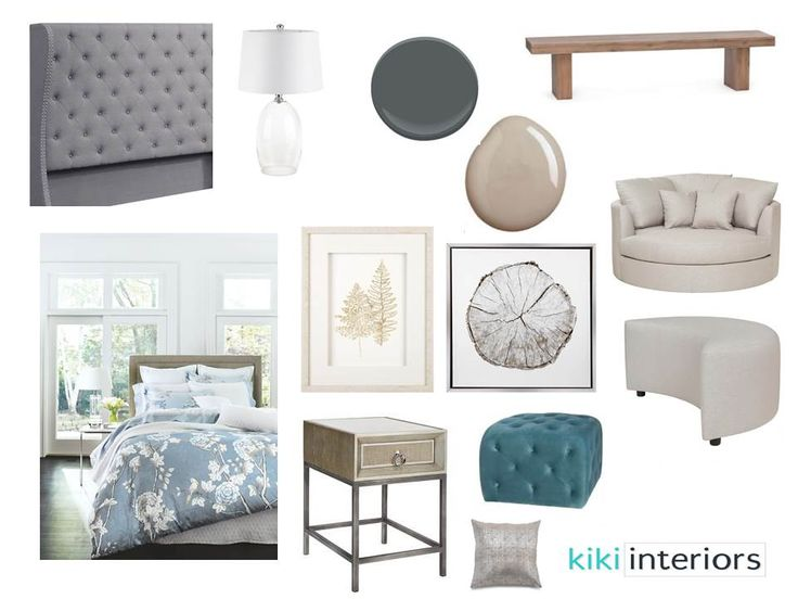 Master bedroom in neutral tones with a touch of blue. A mix of 'his' and 'hers' elements. Interior decorating. Home decor. Home decorating. Home styling. e-decor
