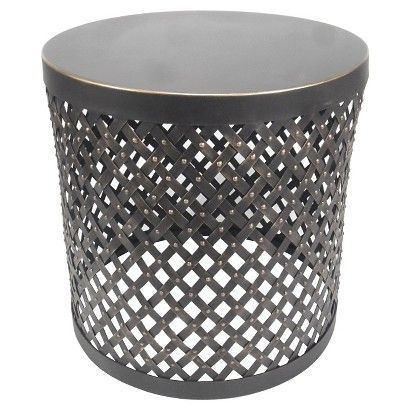 Accent Table Round Cutout Metal Black Threshold Black