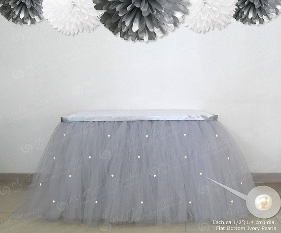 Pearl Beaded Silver Grey Tulle Table TuTu Skirt by MyTuTuStudio