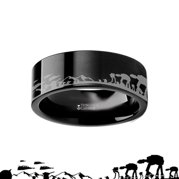 Hoth Battle Star Wars Alliance Galactic Imperial Invasion ATAT ATST Black Tungsten Engraved landscape Ring - 4mm - 12mm