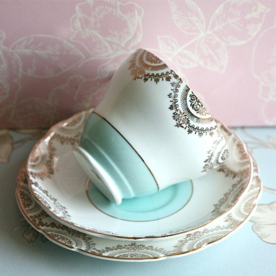Vintage Duck Egg Blue And Gilt Teacup, Saucer And Cake