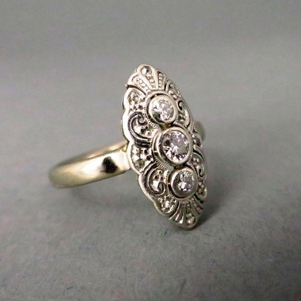 Art Deco Weißgold Niessing Ring mit Brillanten