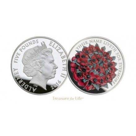 Brilliant uncirculated Remembrance Day 2016 Alderny £5 coin