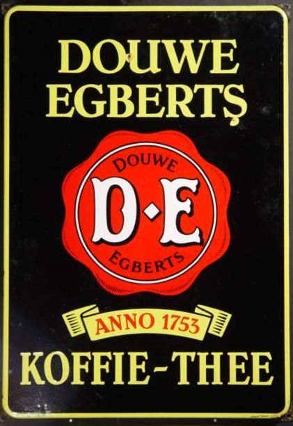 Douwe Egberts Koffie-Thee [Coffee-Tea] tin advertising sign ... with red seal and banner reading 'Anno 1753', porcelainn enamel on metal, Holland/The Netherlands