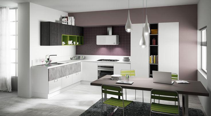 Berloni Cucina B-50 Deck Moka + Cemento + Laccato Bianco Calce opaco + Laccato Verde Kiwi opaco