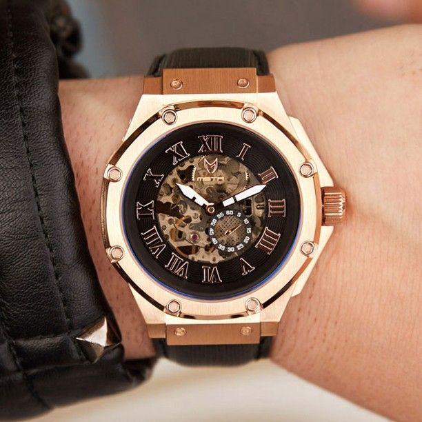 fc29861093 Am301el - ambassador rose gold automatic / black / epi leather band ...