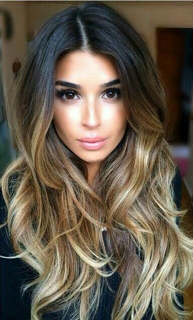 Balayage on dark hair: