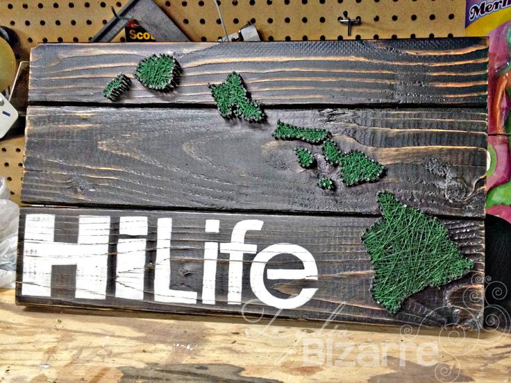 Hawaii String Art Idea with Decal - Make your favorite island in red or with a heart. DIY or Etsy