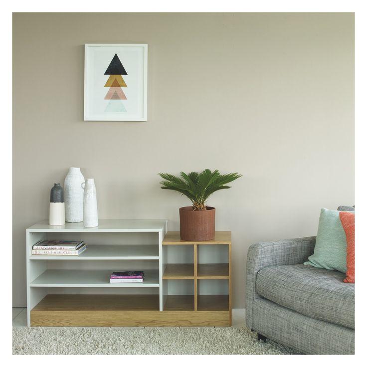 MILES Oak and linen white low shelving unit   Buy now at Habitat UK