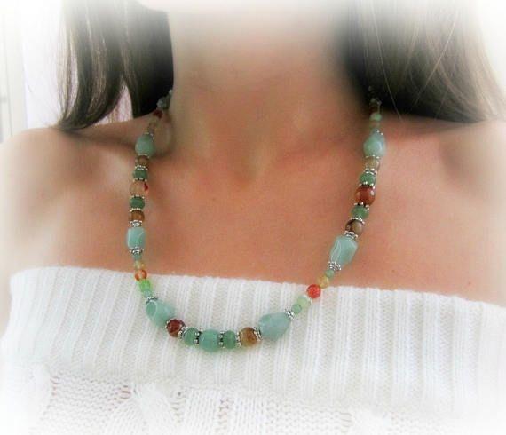 Green aventurine beaded necklace orange green stones
