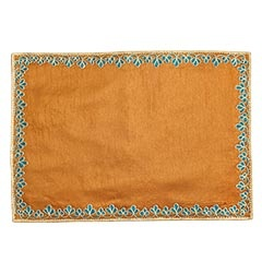 Embroidered Teal Copper Placemat
