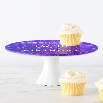 #Purple Abstract Cake Stand 90th Birthday Party Cake Stand - #giftidea #gift #present #idea #number #thirty #thirtieth #bday #birthday #30thbirthday #party #anniversary #30th
