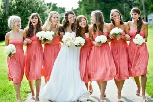 coral wedding, bridesmaids