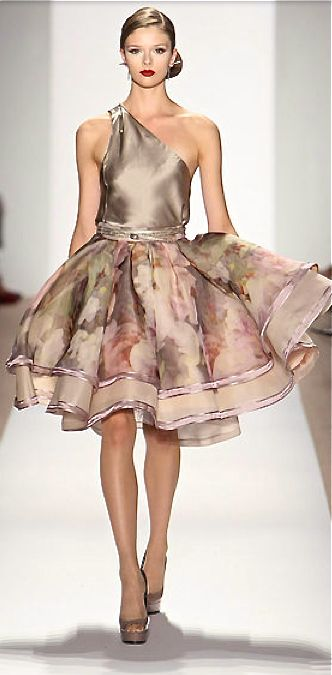 Dennis Basso....One shoulder dress with satin bodice and floral, flared skirt...Beautiful!