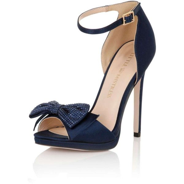 **Little Mistress Navy Satin Double Bow Heels (165 CAD) ❤ liked on Polyvore featuring shoes, pumps, blue, navy blue pumps, blue pumps, bow pumps, high heel pumps and blue satin shoes